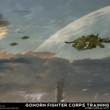 Gohorn Fighter Corps Training Matte Painting by Anton Cherevan
